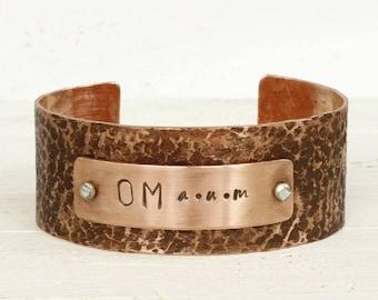OM Yoga Bracelet, Copper Yoga Jewelry, Yoga Gift Idea for Her, Yoga Birthday for Her, Yoga Meditation Jewelry Gift For Her, OM Bracelet
