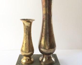 Pair of Vintage Etched Brass Vases