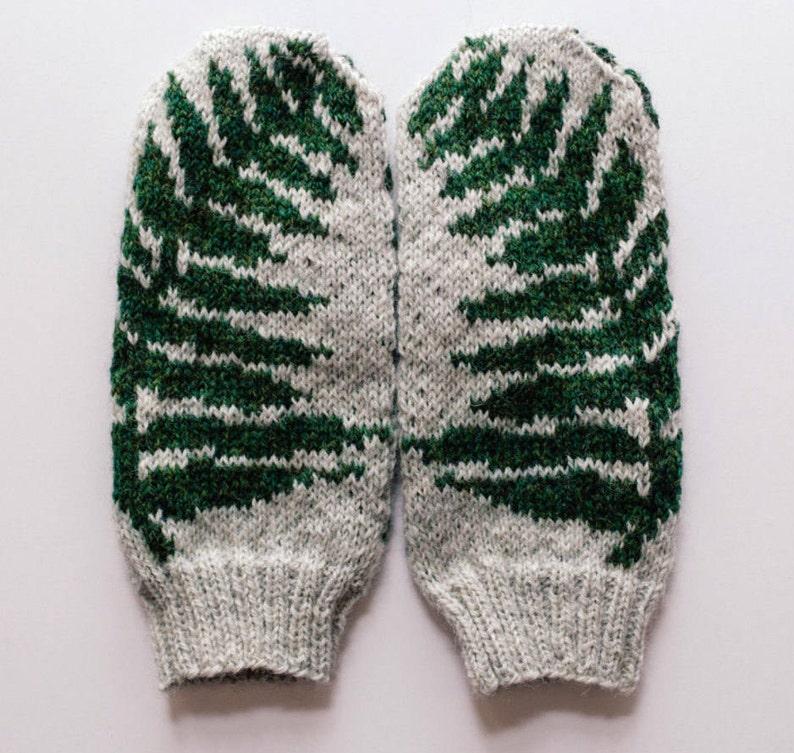 Pattern Fern Knit Mittens Etsy