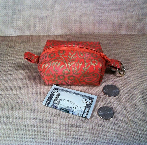 mini wallet purple dragonfly print fabric small zipper bag Keychain pouch change purse keychain wallet zipper top pouch