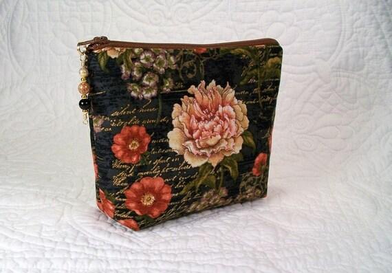 Petit sac à maquillage, perles sac à cosmétiques, 7 pouces tirette fermeture à glissière dessus, perles, joli tissu fleuri, organisateur de maquillage, petit sac à cosmétiques.