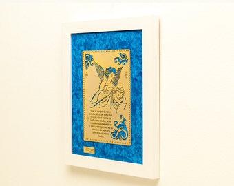 Framed Child's Bedtime Prayer 22K Gold Finished Artwork Religious Children's Bedroom Art Also Available in Spanish