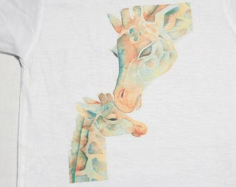 mother and baby giraffe baby onesie bos-41