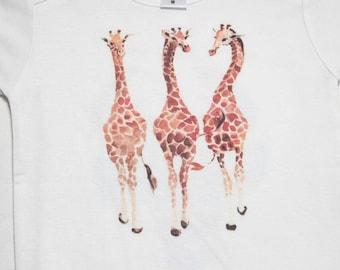 watercolor three giraffe baby onesie bos-22