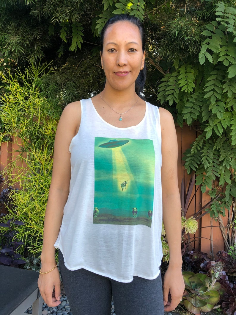 standard back tank top summer tank top graphic tank top Cow abduction tank top