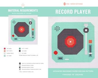 Record Player PDF Block Pattern