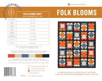 PDF Folk Blooms Quilt Pattern