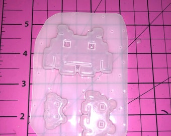 Space Invader set of 3 - Flexible Plastic Resin Mold