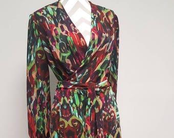 Flowy Knit Maxi Wrap Dress