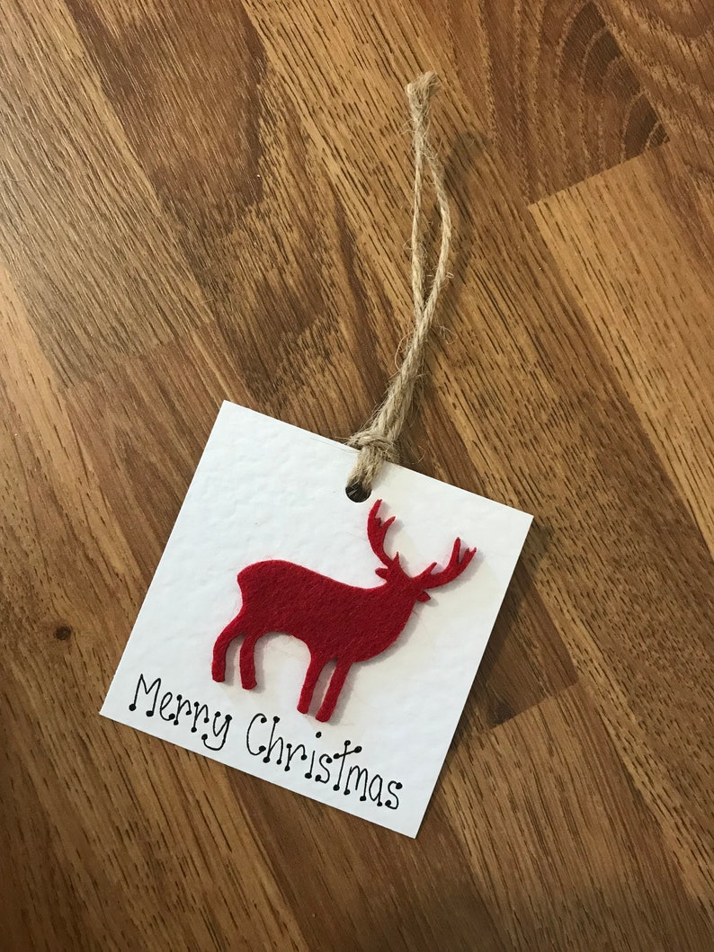 Handmade Recycled Rustic Wooden and Felt Christmas Gift Tags Multi Pack Available