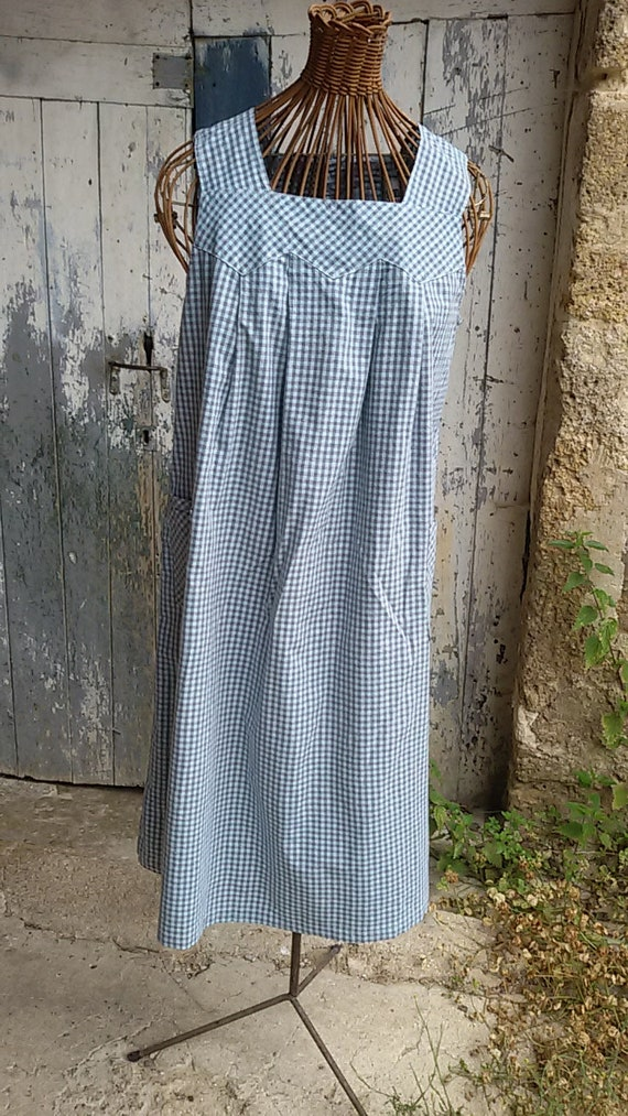 LINVOSGES Vintage Apron Dress, French farm, apron