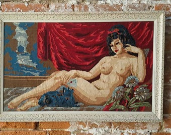 Framework tapestry woman naked/Vintage wall plate canvas 60 / 70 s/Nude/Naked lady