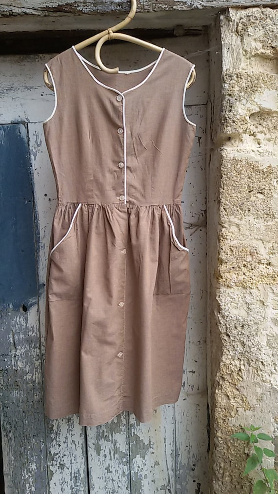 Vintage 60s Apron Dress, French farm, apron dress,
