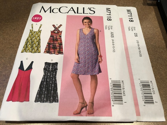 McCalls Pattern M7243 Ms Pullover Top /& Dresses w//Collar /& Stitched Hems