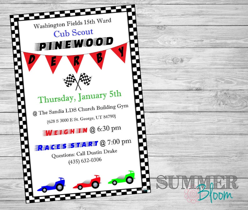 Cub Scout S Pinewood Derby Invitation Etsy
