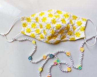 Lime Grapefruit Perfect Gift Lemon Faux Pearls Orange Beaded Mask Chain Lanyard Citrus Fruit Beads