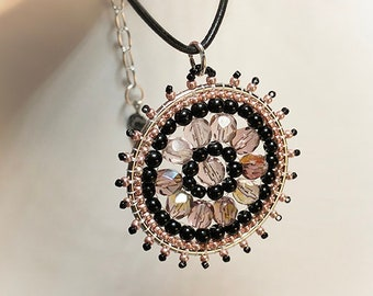 "Mothers Day Native Inspired ""Think Pink"" Pendant Necklace on adjustable Genuine Leather rope chain - Czech glass crystals and beads"
