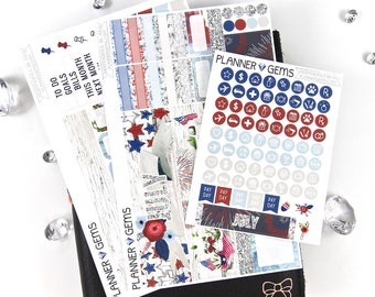 Independence July Monthly B6 TN Planner Kit | ~100 Stickers | Planner Stickers | For Erin Condren LifePlanner