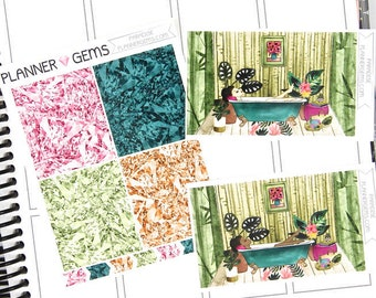 Paradise Gem Header Stickers & Double Box Bundle | 36 Stickers | Planner Stickers | For Erin Condren LifePlanner