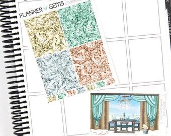 Beach House Gem Header Stickers & Double Box Bundle | 36 Stickers | Planner Stickers | For Erin Condren LifePlanner