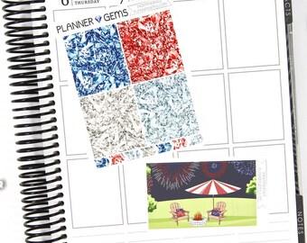 Independence Gem Header Stickers & Double Box Bundle | 36 Stickers | Planner Stickers | For Erin Condren LifePlanner