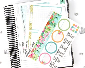 Paradise Monthly Notes Page Planner Kit | ~100 Stickers | Planner Stickers | For Erin Condren LifePlanner