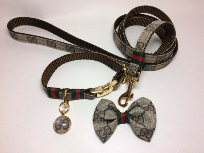 Gucci Dog Collar, Gucci Hair Bow, Gucci Leash, Upcycled, ONLY AUTHENTIC  Gucci bags used, buy individually or as a set,