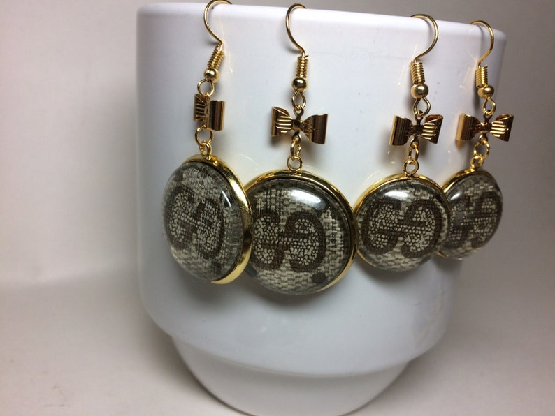 abe402fc097 Authentic Gucci Earrings Upcycled real Gucci canvas Earrings