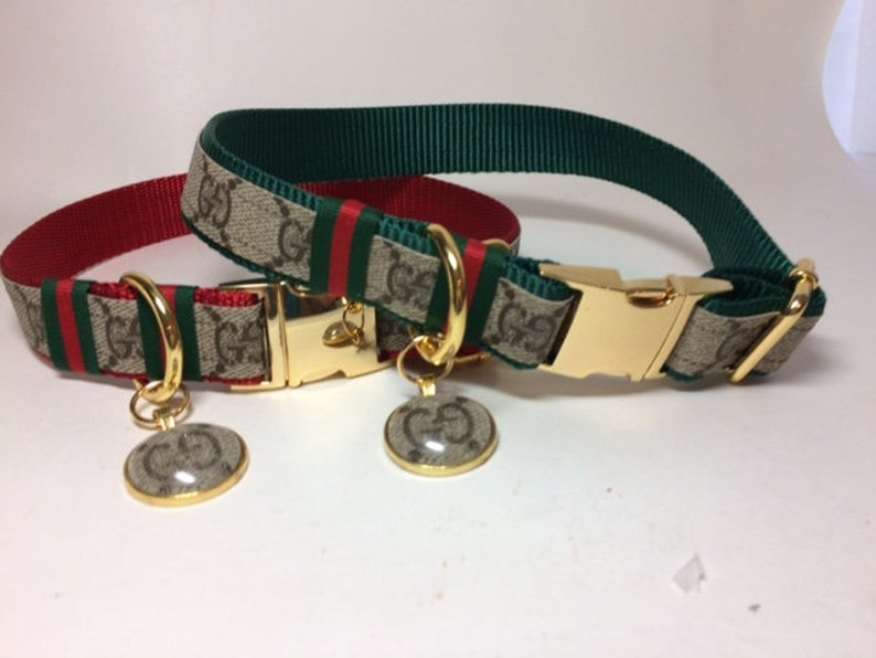 85525475677 Designer Dog Collar Leash combo available Upcycled Designer