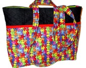 Large Quilted Black, Red, and Bright Color Puzzle Pieces Autism Print Handbag Purse Tote Bag with Puzzle Print Outside Pockets Autism Bag