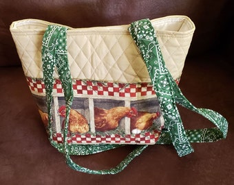 farm designer ladies quilted pattern tote Rooster purse
