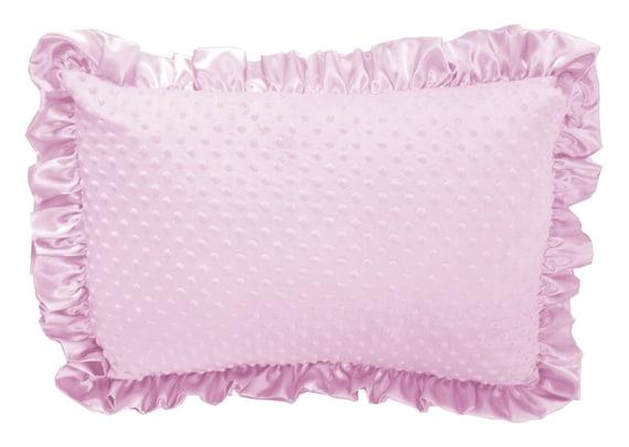 Baby Pink Minky Dot Ruffled Pillow Sham Pillow Cover Etsy