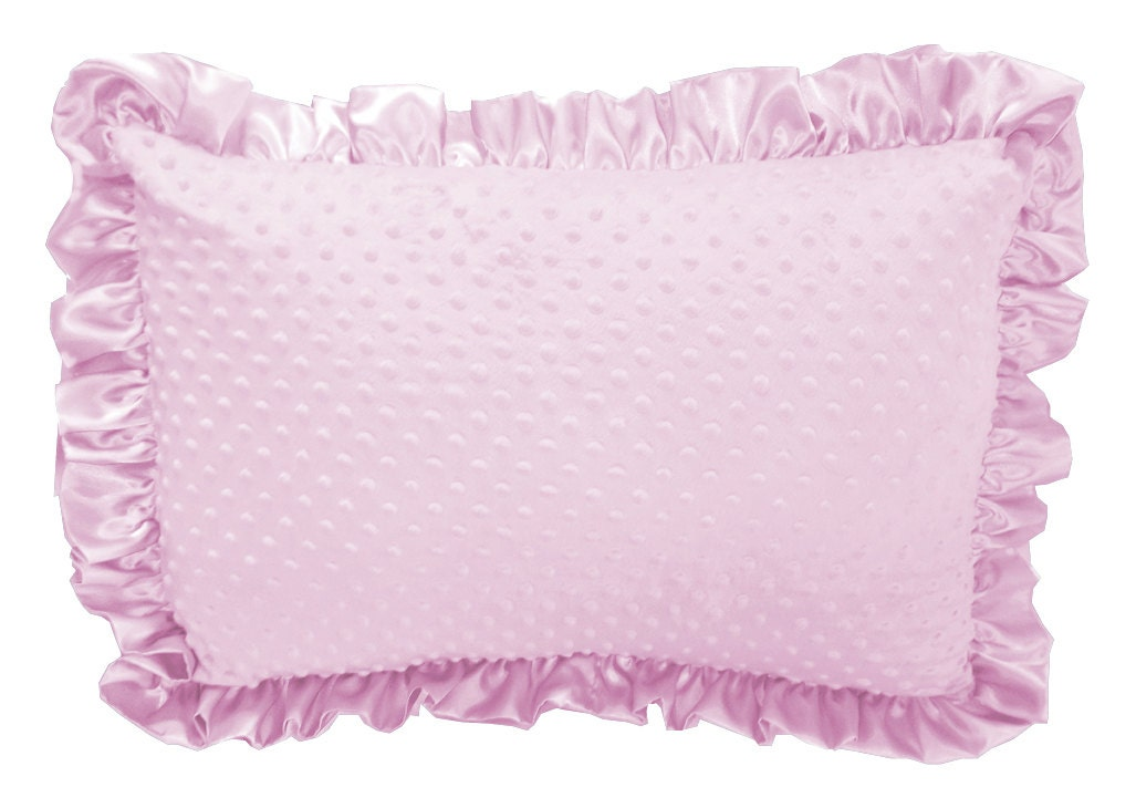 Baby Pink Minky Dot Ruffled Pillow Sham Pillow Cover Etsy