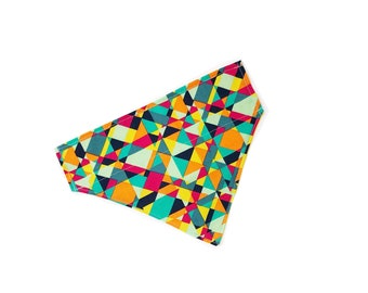 "Abstract Slip-on Bandana |  ""Ellum"" / Solid Yellow on Reversed Side"