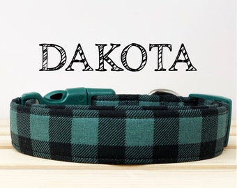 Green and Black Buffalo Inspired Dog Collar | Dakota