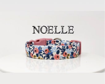 Rifle Paper Co. Inspired Handmade Dog Collar | Light Pink Flowers
