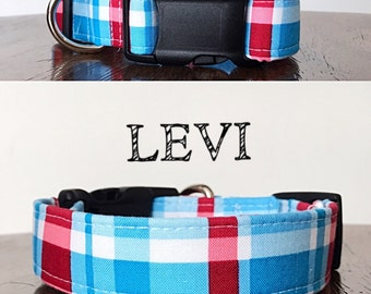 Levi - Red and Blue Plaid Handmade Collar