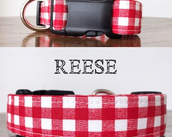 Reese - Red Plaid Handmade Collar