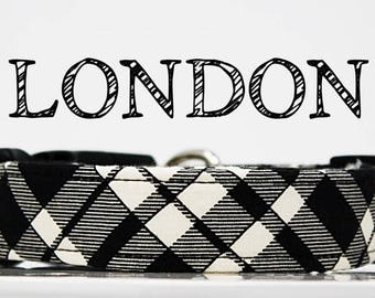 London - Black and Cream Plaid Handmade Collar