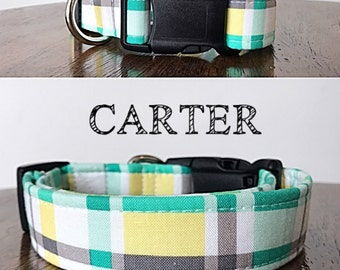 Carter - Green and Yellow Plaid Handmade Collar