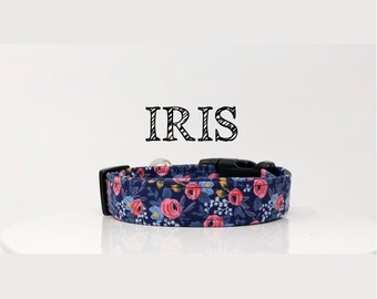 Rifle Paper Co. Inspired Handmade Dog Collar | In Navy and Pink