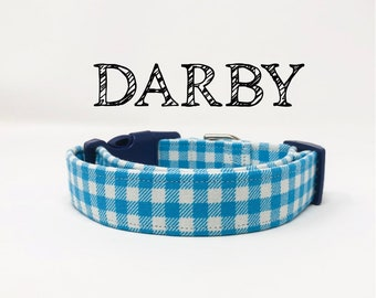 Darby | Blue Gingham Dog Collar