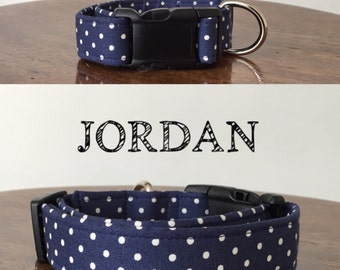 Jordan | Navy with White Polka Dot Handmade Collar