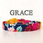 Navy Floral Dog Collar | Bold Floral Dog Collar | Floral Cat Collar |  Grace