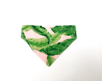 Kailua | Tropical Leaf with Light Pink Over the Collar Bandana