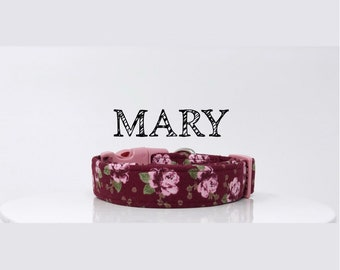 Floral Vintage Inspired Dog Handmade Collar in Burgundy and Pink