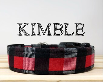 Red, Grey, and Black Buffalo Inspired Dog Collar | Kimble