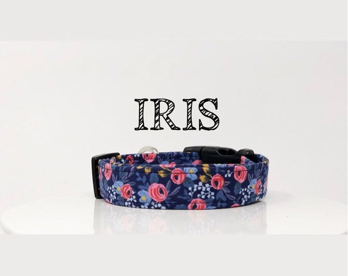 Featured listing image: Rifle Paper Co. Inspired Handmade Dog Collar   In Navy and Pink