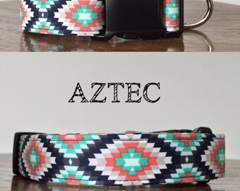 Aztec   Aztec Inspired Handmade Collar / Navy, Coral, and Teal