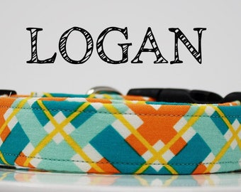Logan - Orange and Teal Plaid Handmade Collar